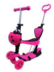 Самокат Scooter 4в1 с родительской ручкой розовый