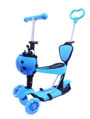 Самокат Scooter 4в1 с родительской ручкой голубой